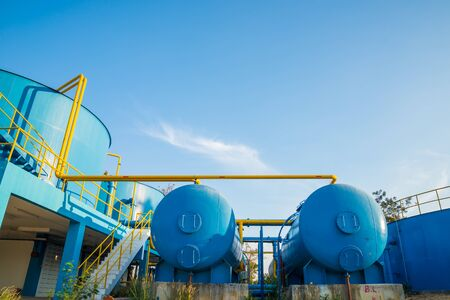 water purification plant: Water treatment plants of the Waterworks in Thailand.