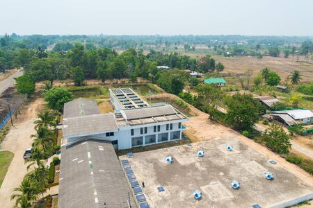 environmental sanitation: Top view of water treatment plants in Thailand.