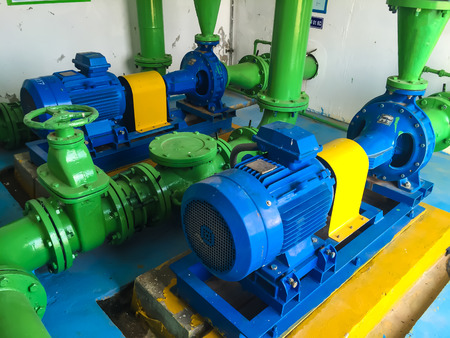 Pump motor in Water Treatment Plant of Thailand. Imagens