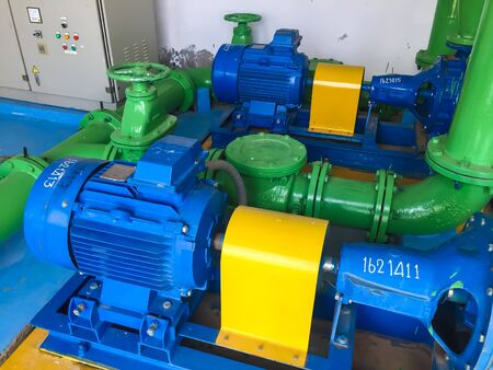Pump motor in Water Treatment Plant of Thailand. Stock Photo