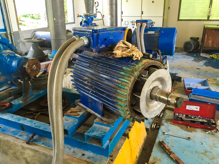 water treatment plant: Pump motor in Water Treatment Plant of Thailand. Stock Photo