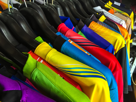 colorful sport shirt hang on the clothesline.