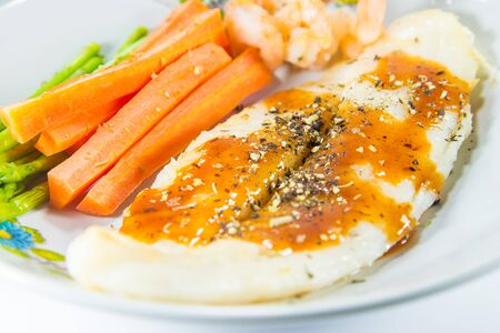 pangasius: Grilled Pangasius Dory fish steak with spices