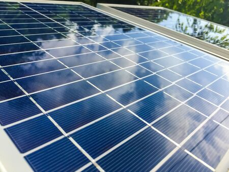generate: Solar panels are used to generate electricity in the home. Stock Photo