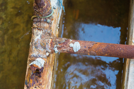 Steel pipes for water supply rust corrosion. Stock Photo