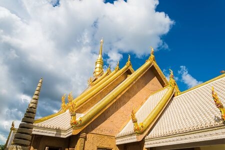 Beautiful roof of temple in Thailand,Wat Mahawanaram, Ubon Ratchathani, Thailand. Stock Photo