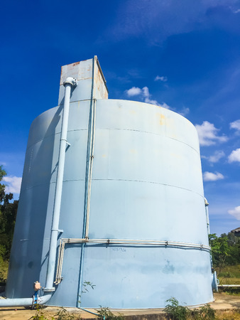 Water Tank and blue sky in the water treatment plants.