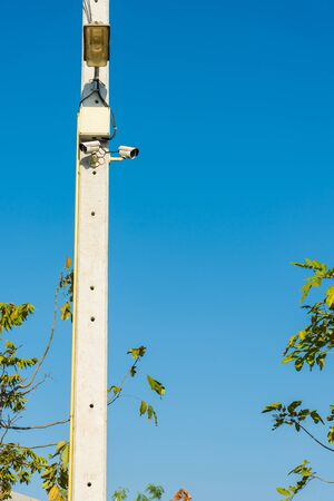 CCTV cameras are installed on electrical poles. safty,