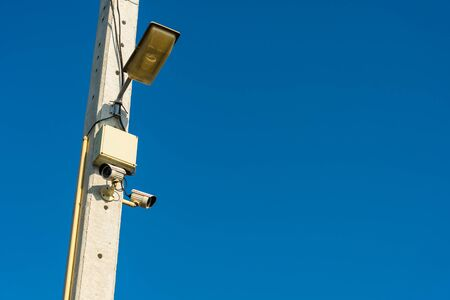 safty: CCTV cameras are installed on electrical poles. safty,