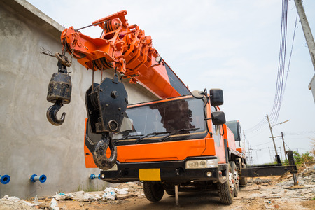 Boom Truck, crane truck hydraulic control. Stock Photo