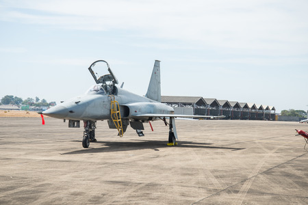 Fighter aircraft parked on the apron.