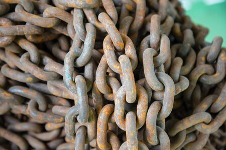 Close up  Metal chain for locked. Chain roll Stock Photo