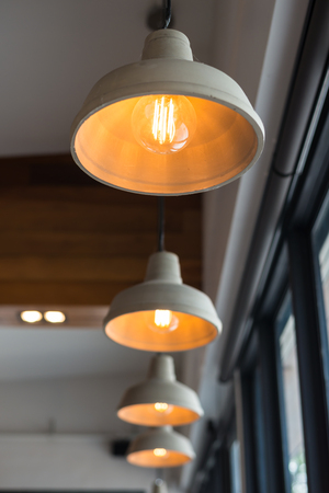 Recessed ceiling lights in a coffee shop Banco de Imagens