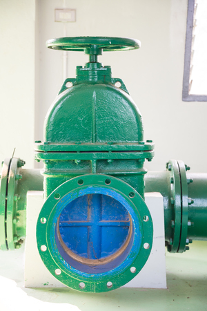Gate valve in the water supply system of the factory.