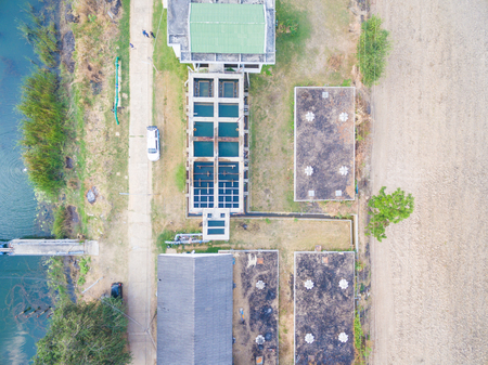 Water treatment process and Water treatment plants of the Waterworks in Thailand.Top view. Stock Photo