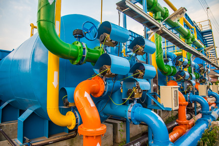 Water treatment process and Water treatment plants, Tank tower Stock Photo