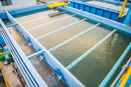 Water treatment process and Water treatment plants, Tank tower Banco de Imagens