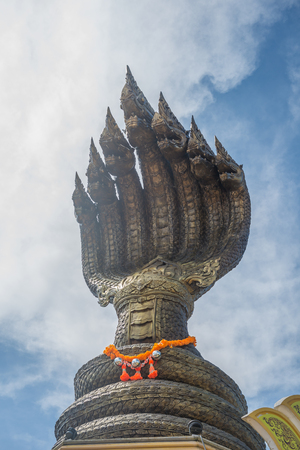Naga statue in the temple of Thailand. Фото со стока