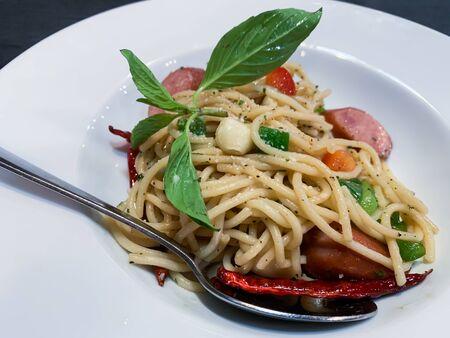 Delicious spaghetti Sausage in restaurant of Thailand
