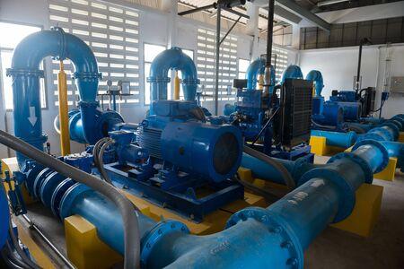 Pump motor in Water Treatment Plant of Thailand. Banco de Imagens
