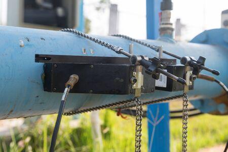 Ultrasonic flow meter for measure rate of water flow. Clamp-on