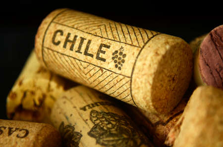 wine corks, wine cork, group of wine corks detail of chilean and italian wine cork with chile name on it.