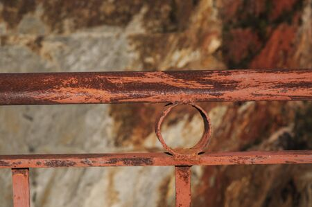 Rusty protection railing natural light sunset