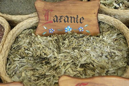 laxatives: MEDICINAL PLANTS IN MEDIEVAL MARKET Stock Photo
