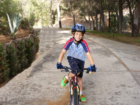 Child cycling in the woods Stock Photo - 4094535