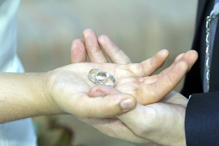 alliances: Hands with alliances of marriage
