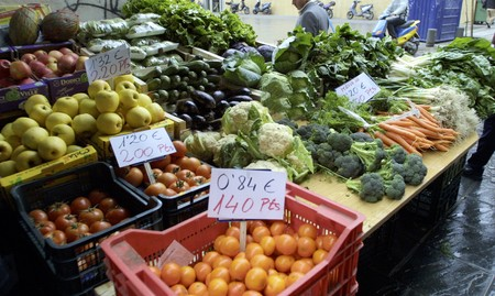 varied: Fruits and vegetables varied in the market