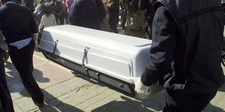 corpses: Coffin person killed in accident Stock Photo