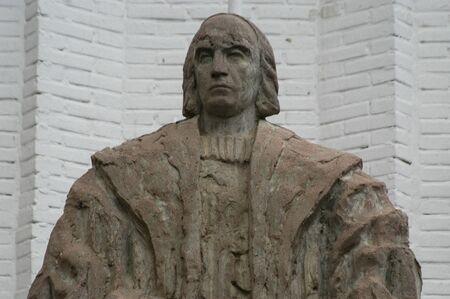 descubridor: Christopher Columbus monumento en Santa Fe (Granada) Foto de archivo