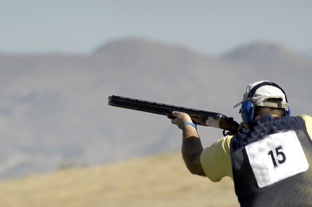 firearm: World Championship clay pigeon shooting Stock Photo
