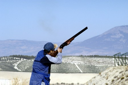 outside shooting: World Championship clay pigeon shooting Stock Photo