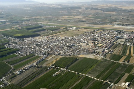 urbanization: Aerial view of the town of Chauchina in the province of Granada
