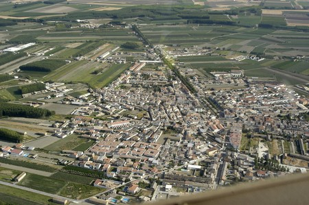 urbanization: Aerial view of the town of Fuentevaqueros in the province of Granada Stock Photo