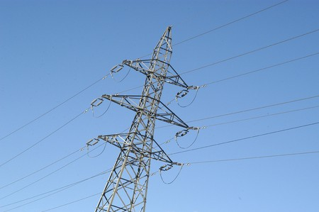 full suspended: High-voltage electric pole Stock Photo