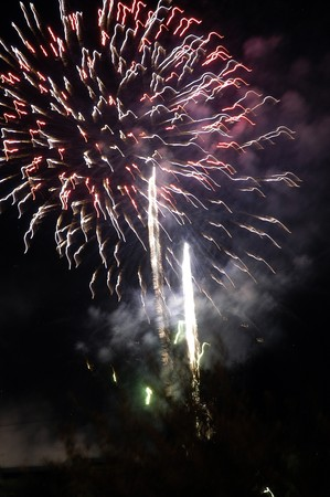 pyrotechnics: Castle fireworks and pyrotechnics Stock Photo
