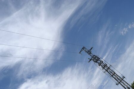 Poste high tension with clouds Stock Photo - 3982434