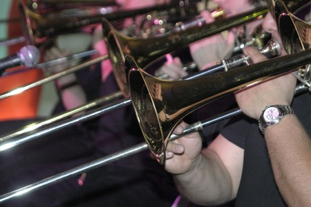 anonymity: Trumpeter in a band of music Stock Photo