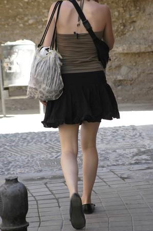 Girl with skirt walking