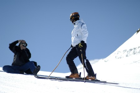 Women skiing in Sierra Nevada photo