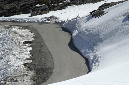 Ski resort SIERRA NEVADA WITH THE SKI SEASON FINISHED, ONLY AN OPEN ROAD TO TRAIN photo