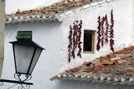 Dried red peppers on the facade of a house in Orce photo