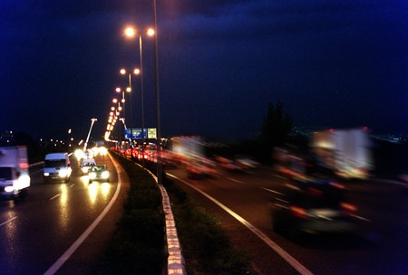 Collapse of traffic at night in Granada photo