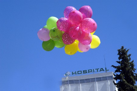 ruiz: Colored balloons next to hospital