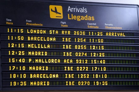 inclination: Panel flight information Airport Federico Garc�a Lorca Granada Stock Photo