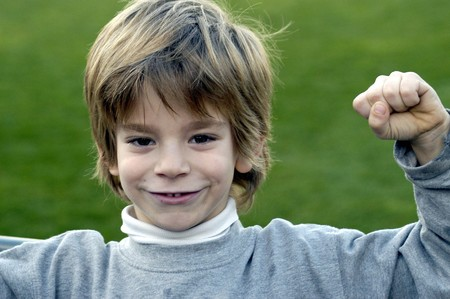 Child champion making gesture                              Stock Photo - 4149649