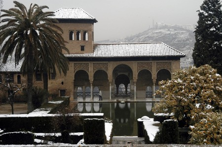View of Alhambra with snow in Granada